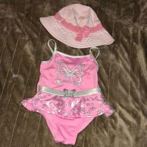Old navy sun hat and Penelope swim suit